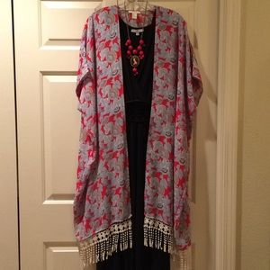 Red and blue long kimono with fringe